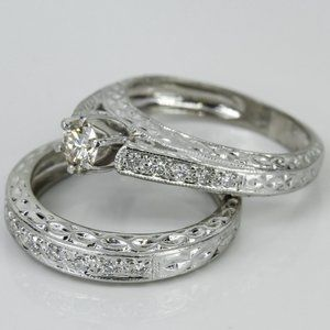 Platinum Diamond Filigree Ring Set